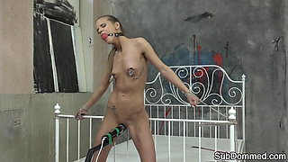 Petite euro dominated and gagged by maledom
