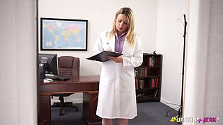 Chubby doctor Penny Lee flashes her shaved pussy in sexy solo