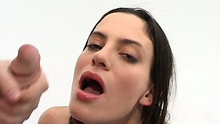 Extremely perverted brunette takes part in foursome