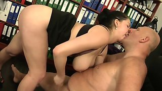 old boss stalking big tit secretary