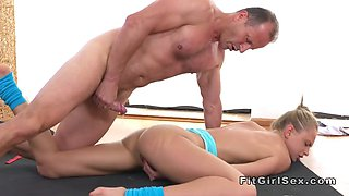 Yoga teacher eats and fucks hot flexible blonde