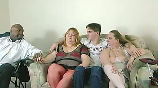 BBW are fucked by horny guys in a foursome