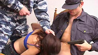 Russian Brunette Teen Babe forced to threesome fuck by Police