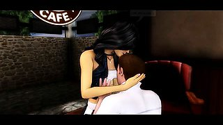 3D Animated Couple Fucking in a Cafe!