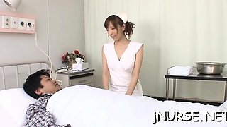 Hot nurse shows off her muff and gives an oral job