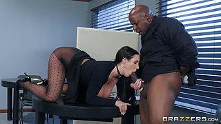 angela white sucks her boss's big black cock