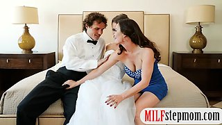 Bride to be threesome with her fiancee and her stepmom