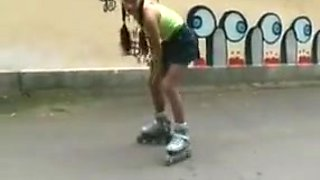 Sexy roller girl flashing