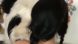 Filthy brunette fucks with her big plush panda bear