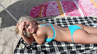 Hot babe Molly attacked by a fellow for a beach sex session