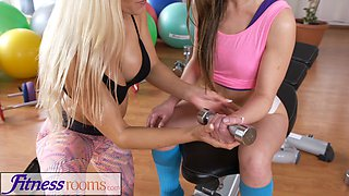 Fitness Rooms Cute shy small tits teen in gym with face sitting older woman