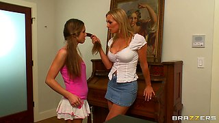 Isabella Sky and Tanya Tate are sharing one dildo