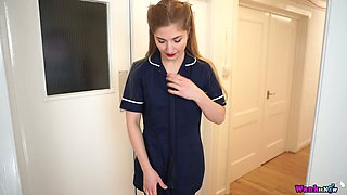 Sexy milf in uniform Stephanie Carter gets naked and shows her pussy