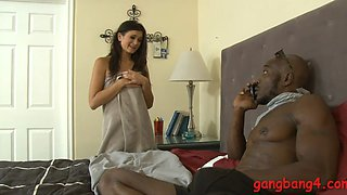 Hot lady Cece Stone double penetrated in the bedroom