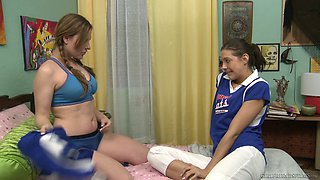 Goody-goody Sadie Holmes is licking yummy pussy of cheerleader GF