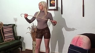 Caning punishment hot junior blonde mistress in leather sh