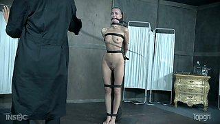 Bald headed hooker Abigail Dupree is punished by one kinky mistress