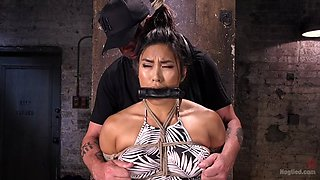 Tied up Asian sex slave gets abused by her master