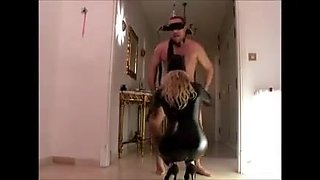 Blonde Latex Mistress Strapon Slave