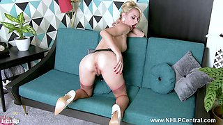 Babe Chloe Toy strips and wanks her tidy fluffy blonde pussy in vintage beige nylons and stilettos
