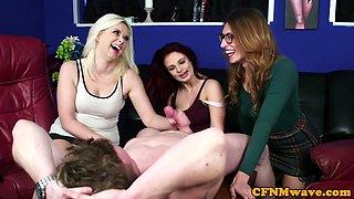 Glam trio stroking cock during CFNM fetish