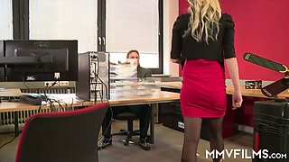 Blond secretary Kitty Blair gives her head and gets fucked in the office