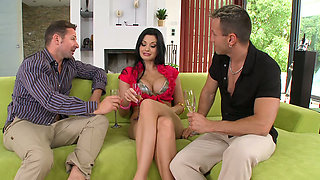 Smoking hot brunette Aletta Ocean suck dicks in threesome