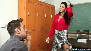 Fabulous brunette teacher Romi Rain gets horny for her student