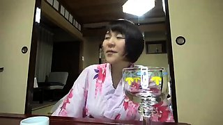 Bodacious Japanese cutie has two guys sharing her hairy cunt
