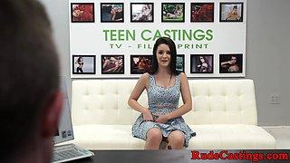 Fingered teen deepthroats during audition