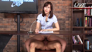 Japanese Female Announcer Fucked In Live