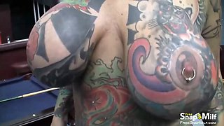 tattooed milf gets pierced pussy banged video