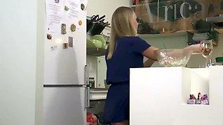Cutie filmed her masturbation in the kitchen