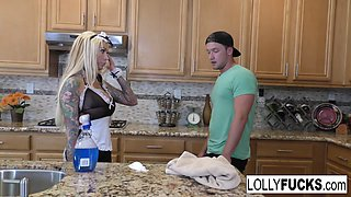 Lolly Ink in Busty Blonde Maid Lolly Receives A Creampie In The Kitchen - LollyInk