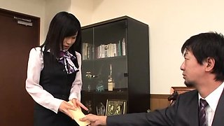 Hot office slut completely dominates her excited colleague
