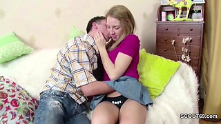 He Seduce Petite Step-Sister in Mini-Skirt to Fuck and Face
