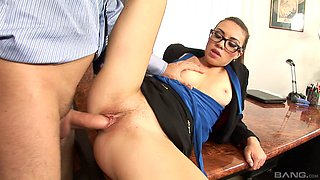 Tiffany Doll a secretary went her boss only to be drilled while clothed