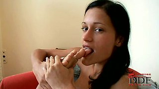 Sweet and skinny brunette newcomer is very flexible