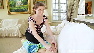stacey leann massages injured stepbro and then sucks his dick off