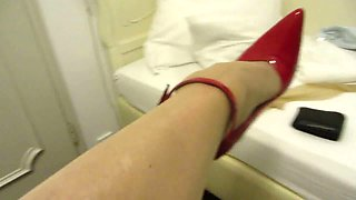 striking the heels in a baroque hotel room