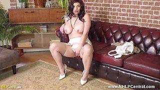 Curvy babe strips off retro lingerie wanks in garters nylons