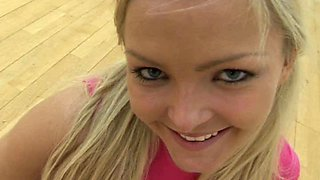 Sporty blonde nympho fucks her butthole with dildo