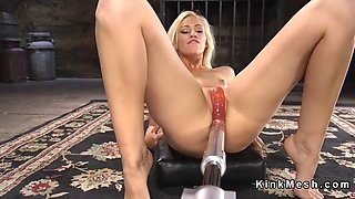long haired blonde beauty rides machine