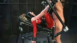Kinky Girl in Red Latex Outfit Fucked Hard in BDSM Session