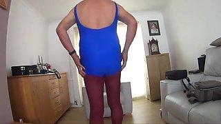 Crossdresser Blue Swimsuit