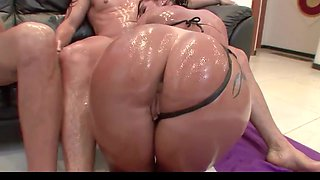 Oiled up anal dp slut