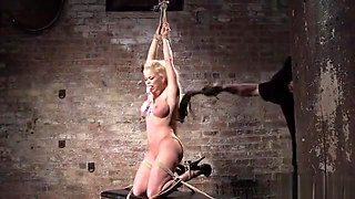 Hogtied blonde abused in dungeon