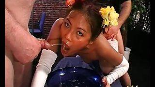 Horny dirty asian slut gets sperm