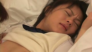 Shy but cute moaning Japanese girlie gets her clit stimulated by bloke
