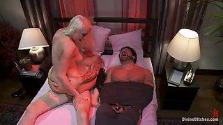 blonde dominatrix punishes two unworthy slaves